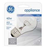 GENERAL ELECTRIC 40W A15 CLEAR APPLIANCE LAMP CARDED