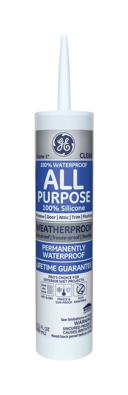 GENERAL ELECTRIC G.E. CLEAR SILICONE 1 WINDOW & DOOR SEALANT 10.1OZ