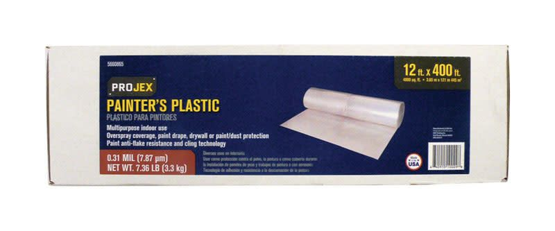 WOOSTER BRUSH COMPANY PROJEX CLEAR PAINTER'S PLASTIC HIGH DENSITY .31MIL - 12' X 400'