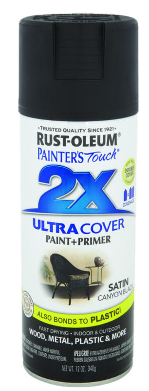12OZ PAINTERS TOUCH ULTRA COVER 2X SATIN CANYON BLACK