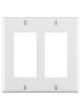 LEVITON LEVITON DECORA TWO GANG WALLPLATE WHITE