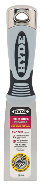 """HYDE TOOLS HYDE 06158 1-1/2"""" PRO STAINLESS HAMMER HEAD STIFF WALL SCRAPER"""