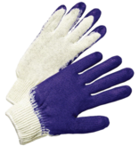 BLUE DIPPED LATEX PALM STRING KNIT GLOVES 12/PK - LARGE