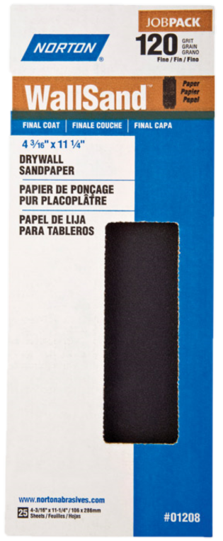 "Norton Norton 01208 4-3/16"" x 11"" P120D Wallsand Paper 25Pk"