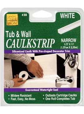 TUB-N-WALL WHITE CAULK STRIP 7/8''X11'