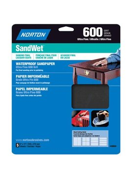 NORTON ABRASIVES WATERPROOF SANDPAPER- 600 GRIT 5/PK