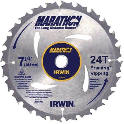 IRWIN 7-1/4'' 24T MARATHON FRAMING/RIPPING CIRCULAR SAW BLADE