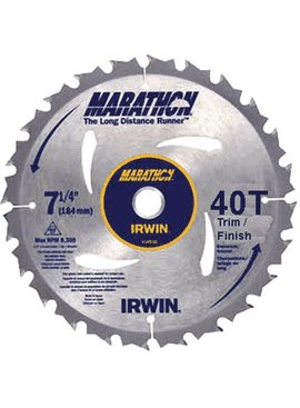 IRWIN 7-1/4'' 40T MARATHON TRIM/FINISH CIRCULAR SAW BLADE