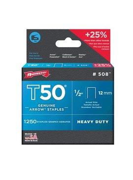 STANLEY TOOLS COMPANY T50 1/2'' 12MM STAPLES 1250/PKG