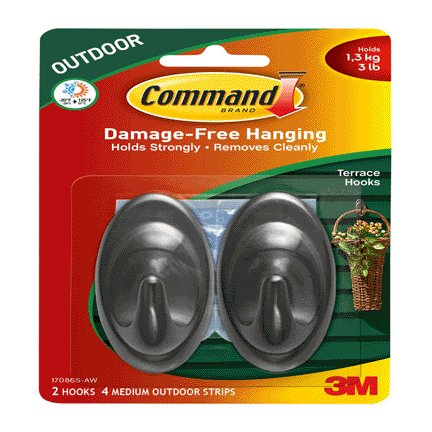 3m Tapes Adhesives Command Medium Outdoor Slate Terrace Hooks Two Pack