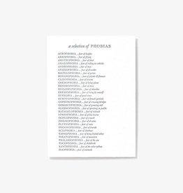 Set Editions Single Letterpress: Phobias