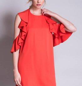 Do + Be Orange Ruffled Peplum Dress