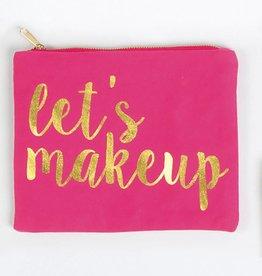 """8 Oak Lane Pink Canvas Pouch """"Let's Makeup"""""""