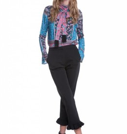 Endless Rose Floral Print Patchwork Front Tie Top