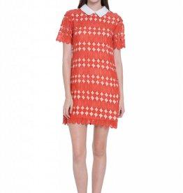 English Factory Orange Short Sleeve Dress with Contrast Collar