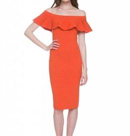 English Factory Orange Off the Shoulder Ruffle Rib Knit Dress