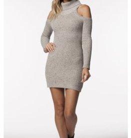 PPLA Cream Sweater w/ Cold Shoulder & Cowl Neck