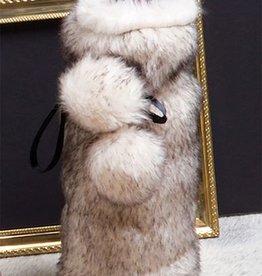 8 Oak Lane Gray Luxe Faux Fur Wine Bag