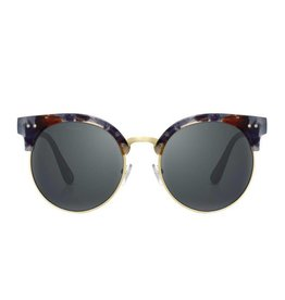Perverse Sunglasses Gold w/Multi Color Browline Round Clubmaster Sunglasses