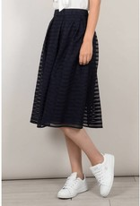 Molly Bracken Navy Stripe Pleated Midi Skirt