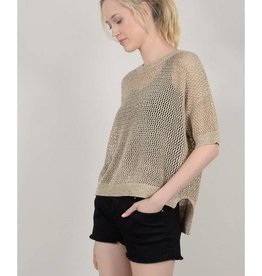 Molly Bracken Gold Iridescent Knit Top