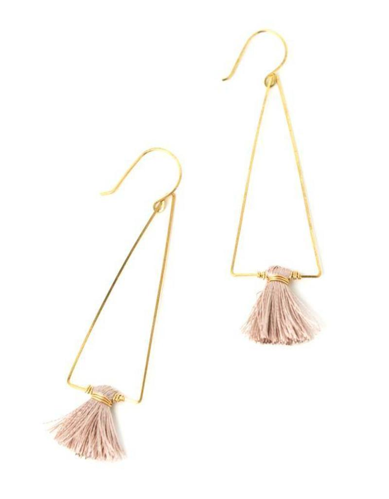 Sarah Briggs Large Wire Triangle Earring w/Silk Tassel