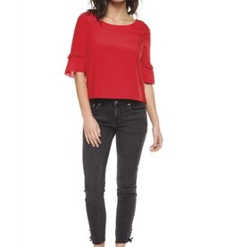 Dex Crimson Tiered Bell Sleeve Top