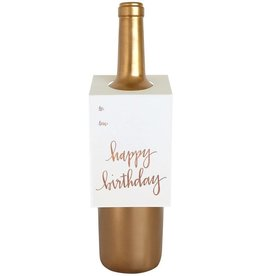 "Chez Gagne ""Happy Birthday"" Rose Gold Wine Card"