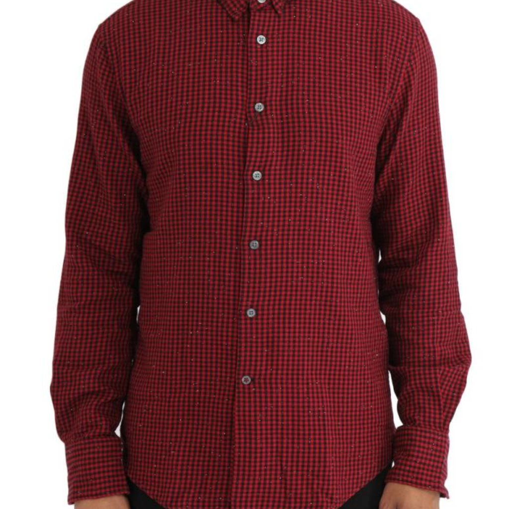 Long Sleeve Button Front Wire Collar