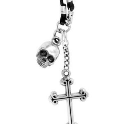 King Baby Hamlet Skull and Cross Pendant on Braided Cord