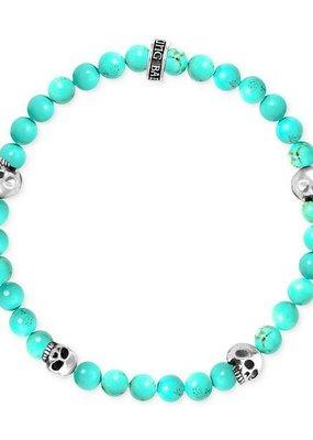 King Baby King Baby 6mm Turquoise Bead Bracelet 4 skull