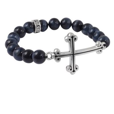 King Baby Blue Tiger Eye 10mm Bracelet with Cross