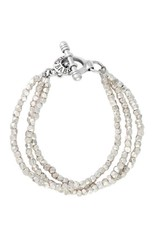 King Baby Three Strand Silver Bead Bracelet with Clasp