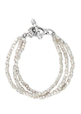 King Baby King Baby Three Strand Silver Bead Bracelet with Clasp