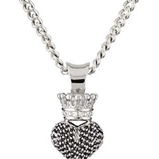 King Baby 3D Crowned Heart Pave with Silver Pendant Necklace