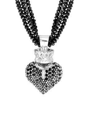 King Baby King Baby Spinel Neck with 3D CZ Heart Necklace