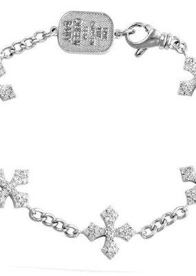 King Baby King Baby 3D Pave CZ MB Cross Bracelet