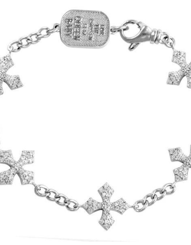 King Baby 3D Pave CZ MB Cross Bracelet