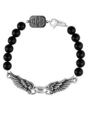 King Baby King Baby 8mm Onyx bead wingspan bracelet