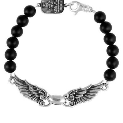 King Baby 8mm Onyx bead wingspan bracelet