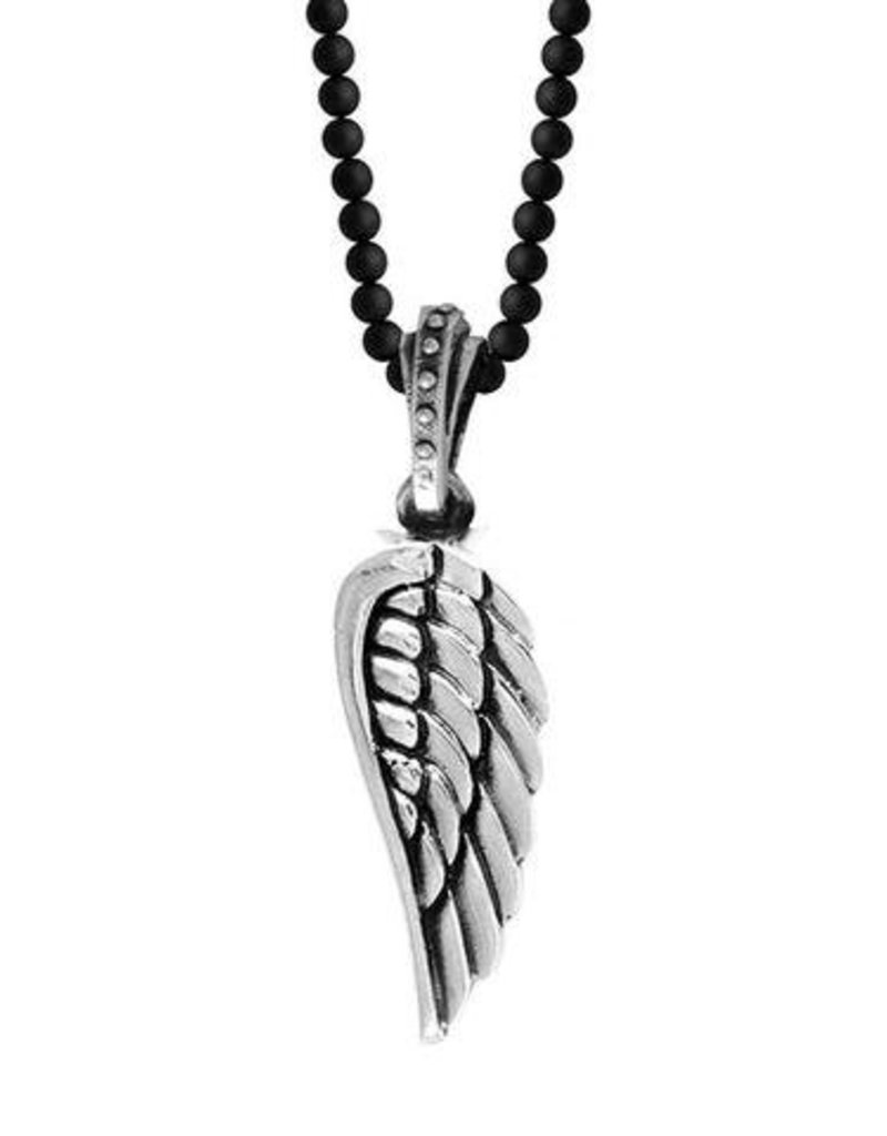 King Baby Large Wing Onyx Bead Necklace