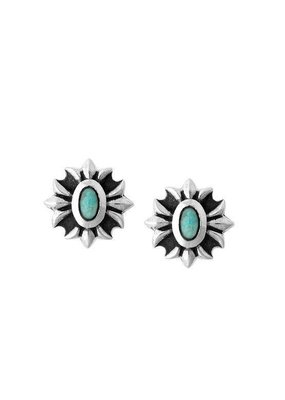King Baby King Baby Gothic Cross studs with turquoise stones