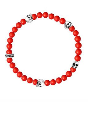 King Baby 6mm Red Coral bead bracelet 4 skull