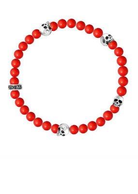 King Baby King Baby 6mm Red 4 Skull Coral bead bracelet