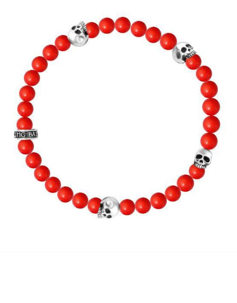 King Baby 6mm Red Coral bead bracelet 4 skull