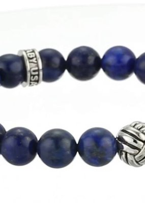 King Baby Tri Monkey Knot 10mm Lapis Bracelet