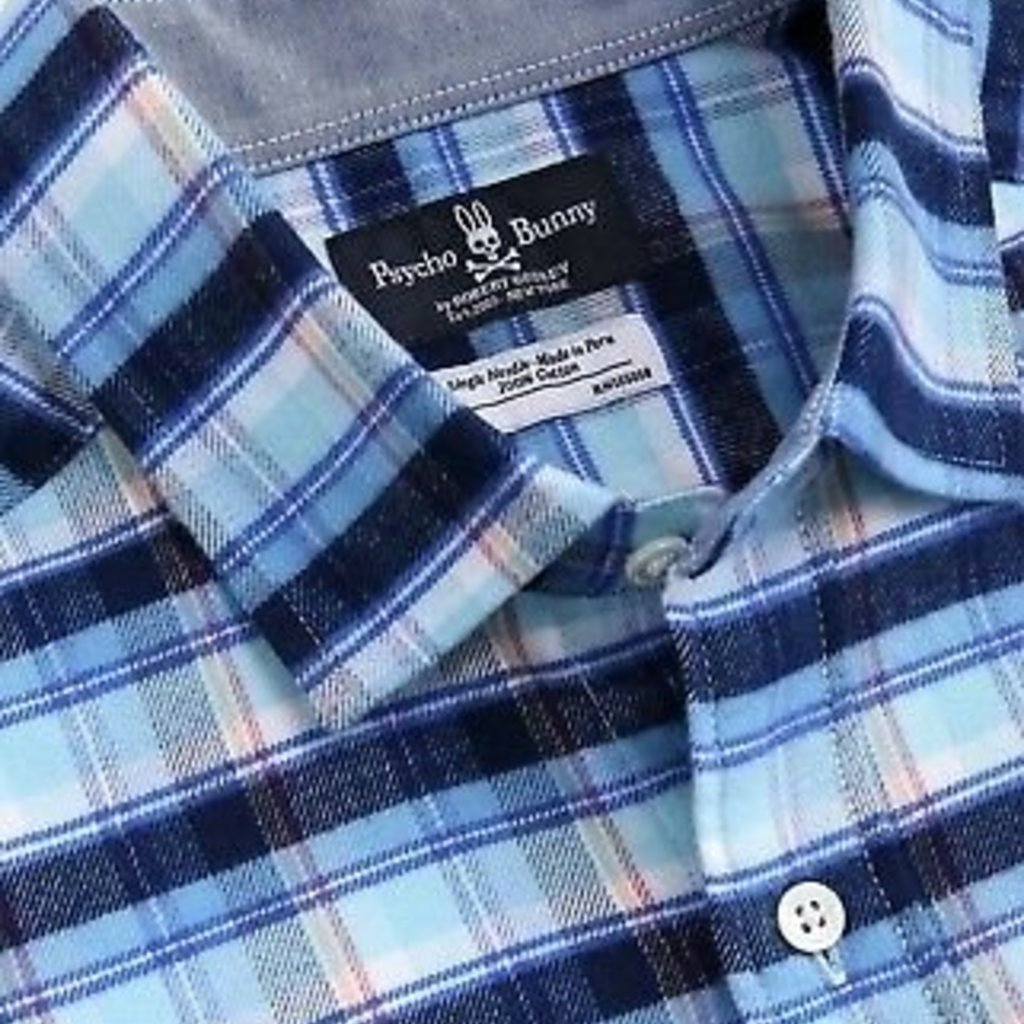 Psycho Bunny Flannel Sport Shirt Carolina/Navy