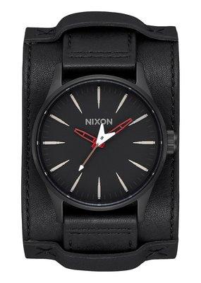 Nixon Sentry Leather Blk.& Red/Seek Watch