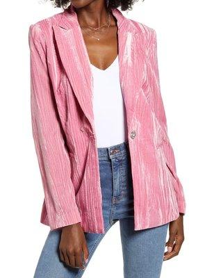WAYF Single Breasted Velvet Blazer