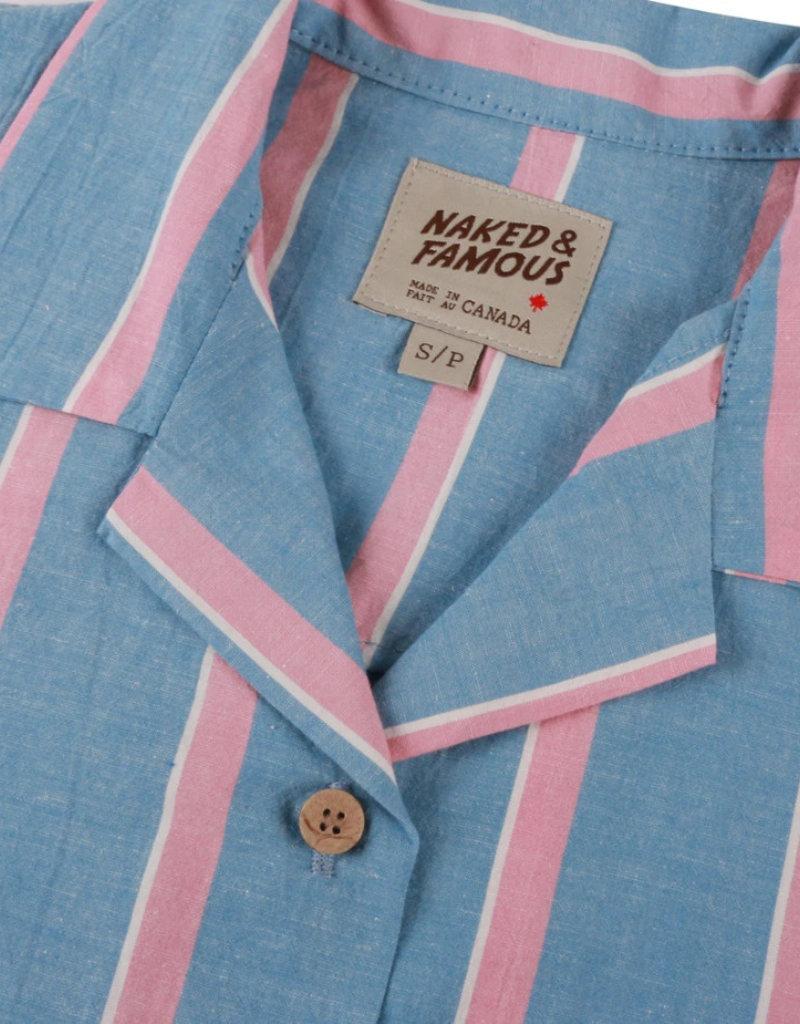 Ladies Naked & Famous Stripe Camp Shirt